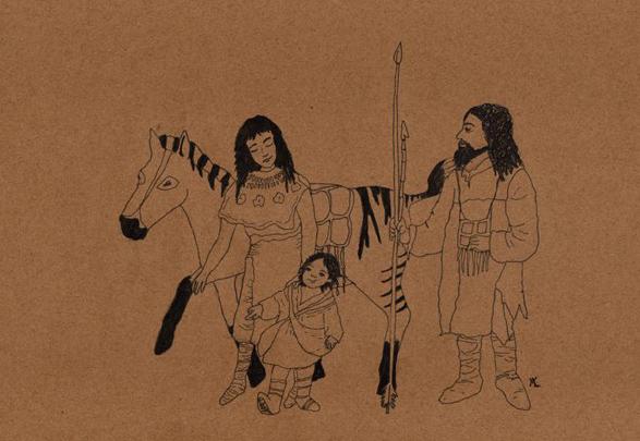 tekening van Udo, de eerste jongen in Kennemerland