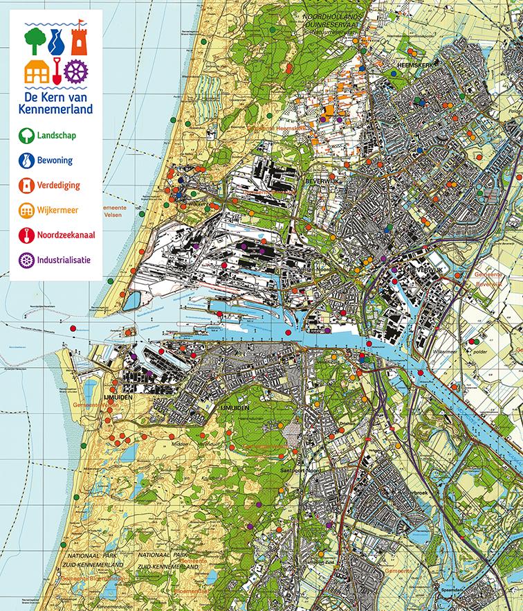 kaart en legenda locaties erfgoed in midden-kennemerland